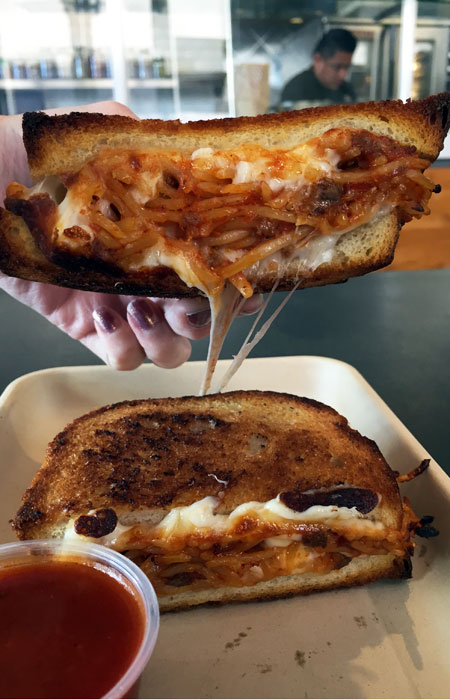 Spaghetti grilled cheese: a mash-up of two American classics.