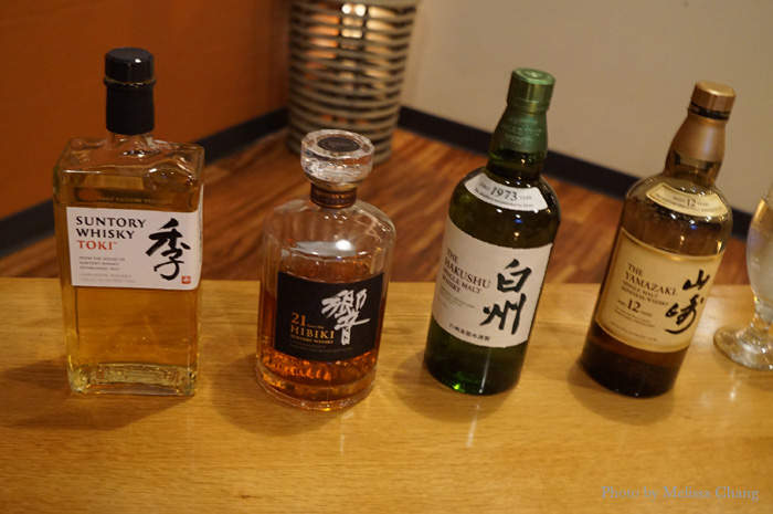 Some of the featured whiskies at 12th Avenue Grill on June 29.