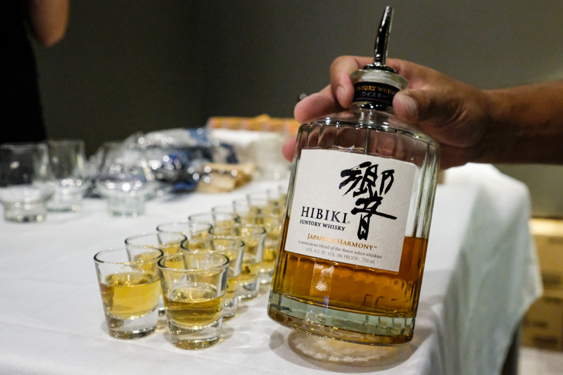 Pictured are smaller samples of Hibiki Harmony, but you can order yourself a glass of whisky to pair with gelato.