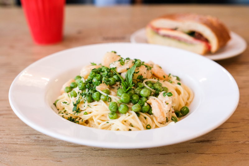 You can't go wrong with one of Warner's pasta specials - here, Gulf shrimp meet a cream sauce with peas and spices ($17).
