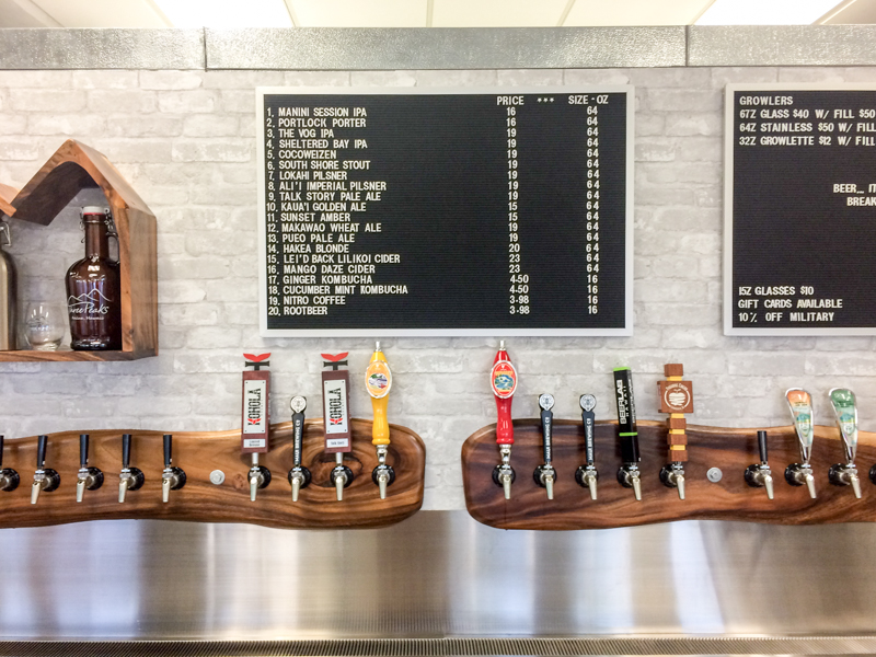 The tap list of local craft brews.