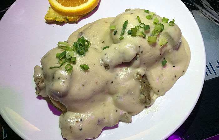 I love homemade biscuits, so I opt for Biscuits & gravy ($12), which includes country gravy, sausage and scallions.