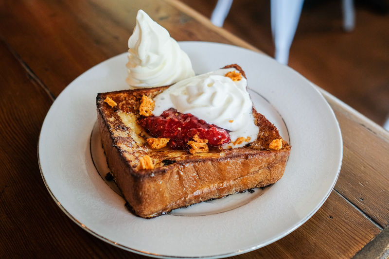 Milk and honey French toast a la mode ($16).