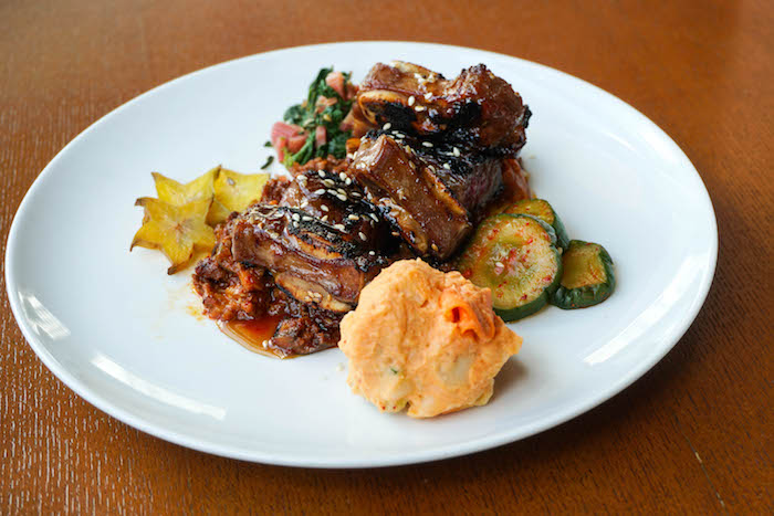 Grilled Kalbi Short Ribs with Spicy Ho Farms Eggplant Ragu, Kimchee Potato Salad and Cucumber Kimchee ($22 on the lunch menu)
