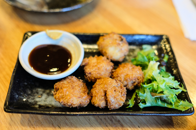 A new item we thoroughly enjoyed were the poppable minchi katsu bites, little tsukune patties coated in panko and deep fried to a crisp.