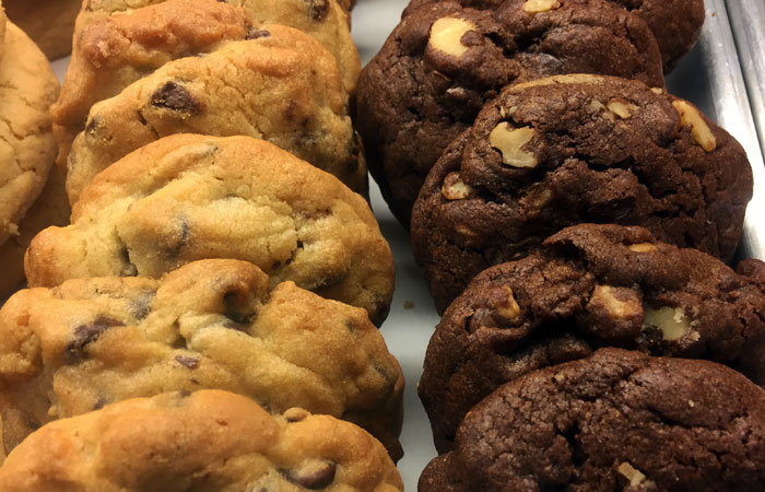 For me, it's always a toss-up between the double chocolate cookie with chocolate chips and walnuts or the all-American classic stocked with semi-sweet chocolate chips.