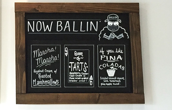 The month's special flavors will be listed under the Now Ballin' section.