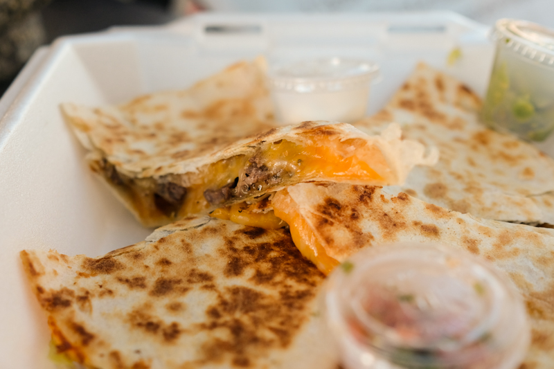 Quesadillas come stuffed with cheese. I got mine with carne asada ($10) but they can be had with carnitas or chicken as well ($8 each).