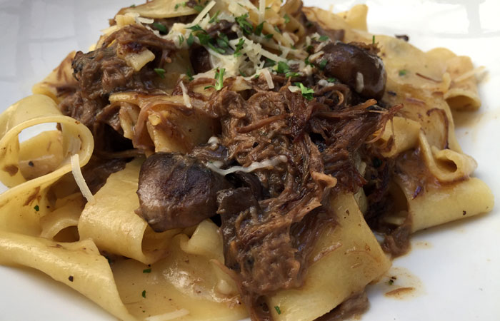 The Papardelle ($18) is served at lunch and dinner. It features locally made noodles, short ribs and cremini mushrooms, all tossed in a sherry cream sauce.