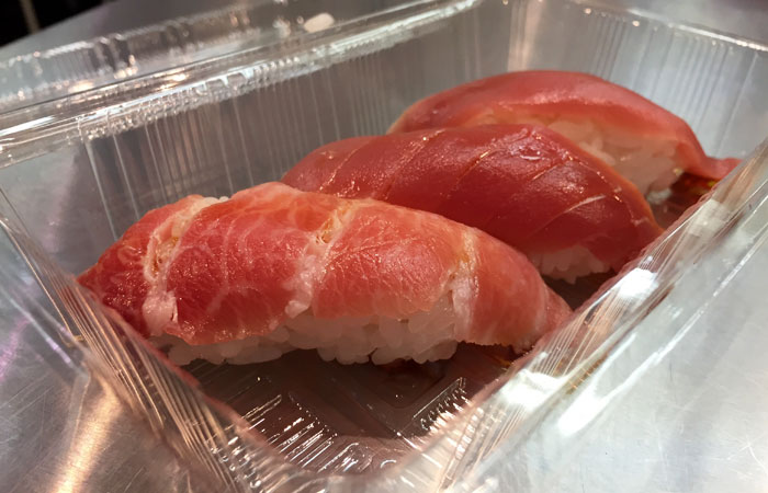 You can choose between lean, medium fatty or fatty tuna. Or, go for a sampler — it's the same price.
