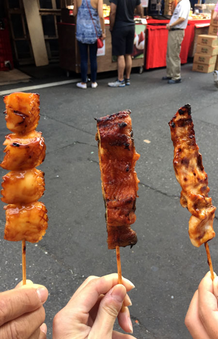 Some vendors didn't allow photos, and this was one of them. Otherwise, I would have taken a picture of the sheer variety of skewer options they had.