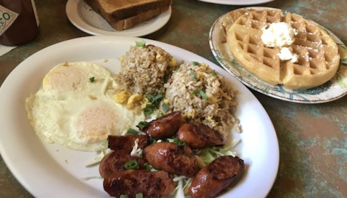 Two Egg Breakfast with waffles ($11.95) and fried rice (+$3)